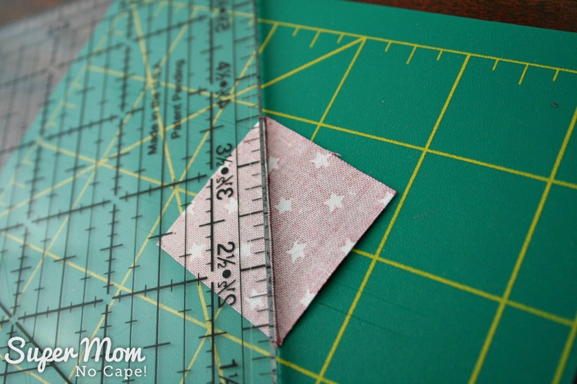Sawtooth Star with Applique Center Ornament - 2. draw diagonal line on each small contrast square