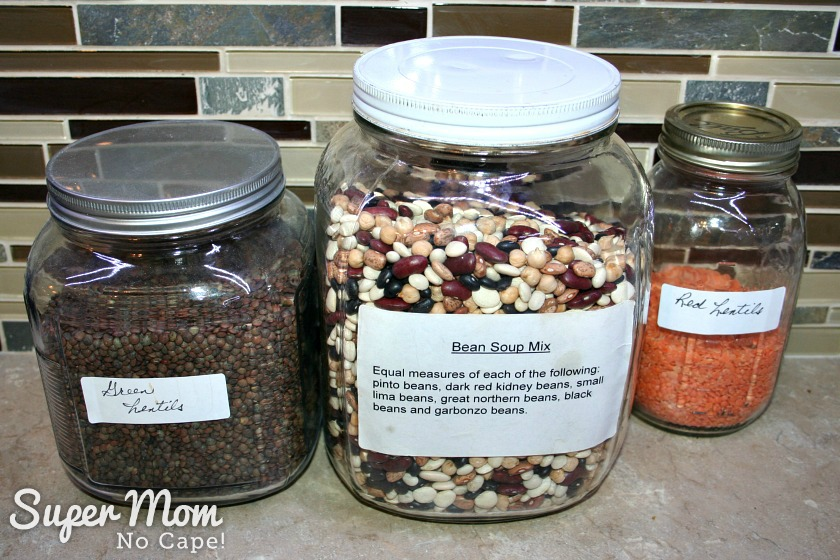 Bean Soup in a Jar Mix - Jars of dried lentils and bean soup mix