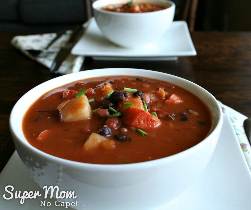 Homemade Bean Soup in White Bowl with another in the background