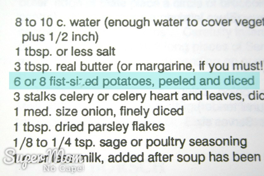 Highlighted section of recipe calling for 6 or 8 fist sized potatoes