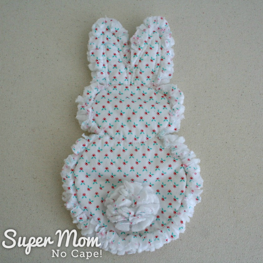 Back of Rag Quilt Bunny after being washed in hot water and dried