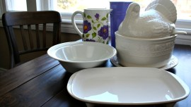 Thrift store treasures - 3 pieces of whiteware and 2 colorful vases