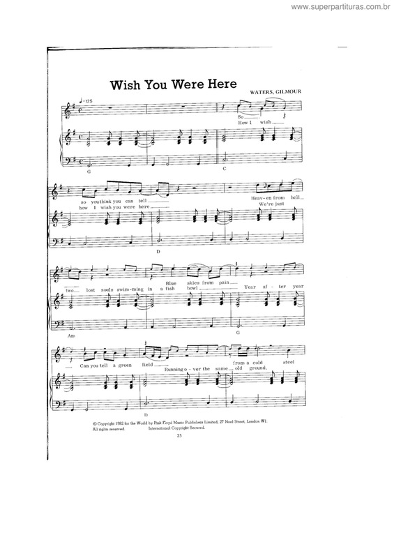 Super Partituras Wish You Were Here V4 Pink Floyd Com Cifra