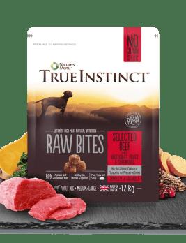True Instict Raw Bites Adult Dog Beef 1.2kg Bag