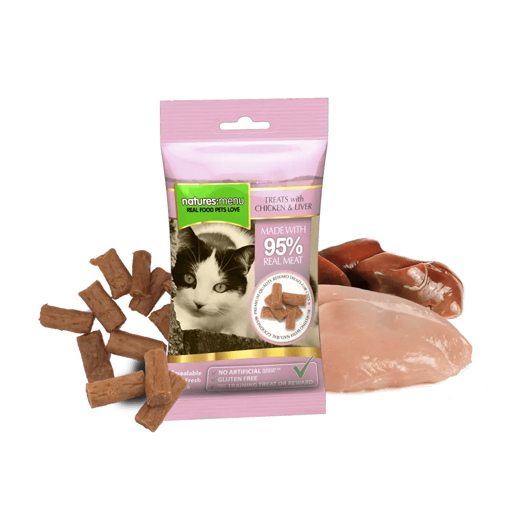 Natures Menu Real Meaty Cat Treats Chicken & Liver 60g Bag