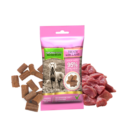 Natures Menu Real Meaty Dog Treats with Lamb and Chicken 60g Bag