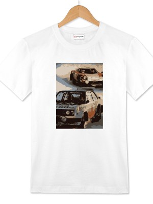 Racing two cars tshirt bianca