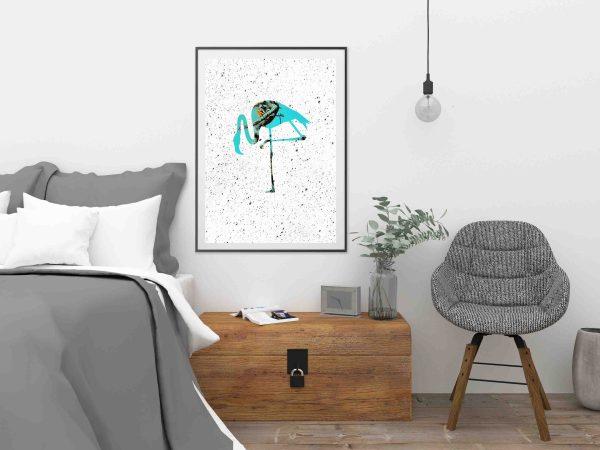 plakat z flamingiem na białym tle