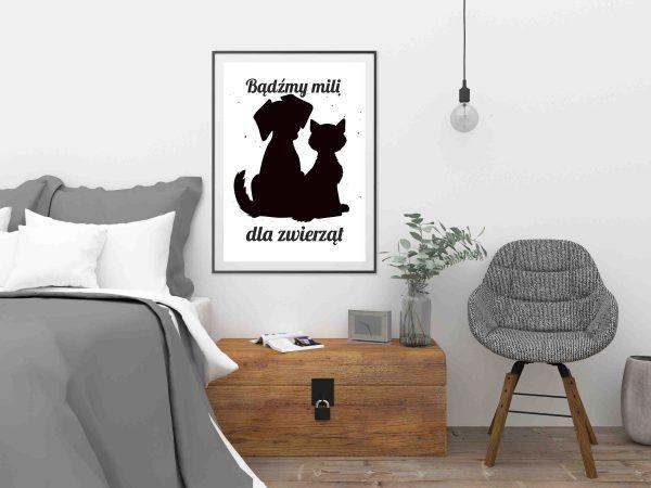 Plakat o kocie i psie Grafika zwierzęta