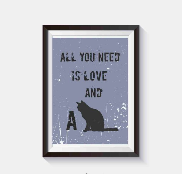 koty grafika plakat all you need is love and a cat