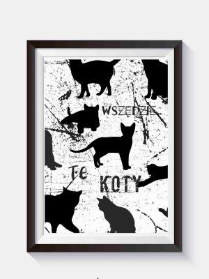 Plakat z czarnymi kotami do samodzielnego wydruku