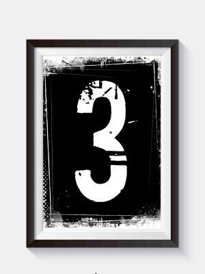 Minimalistyczny plakat typograficzny cyfra 3 czarno biały