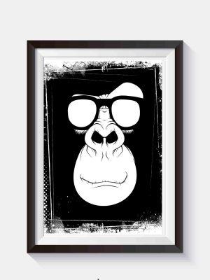 Plakat hipsterski Plakat z małpą w okularach