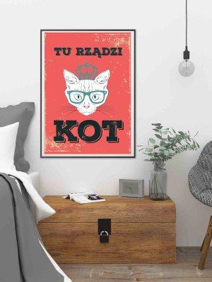 Plakat hipster czerwono czarny z kotem