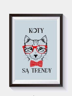 Kot hipster Plakat niebieski do samodzielnego wydruku