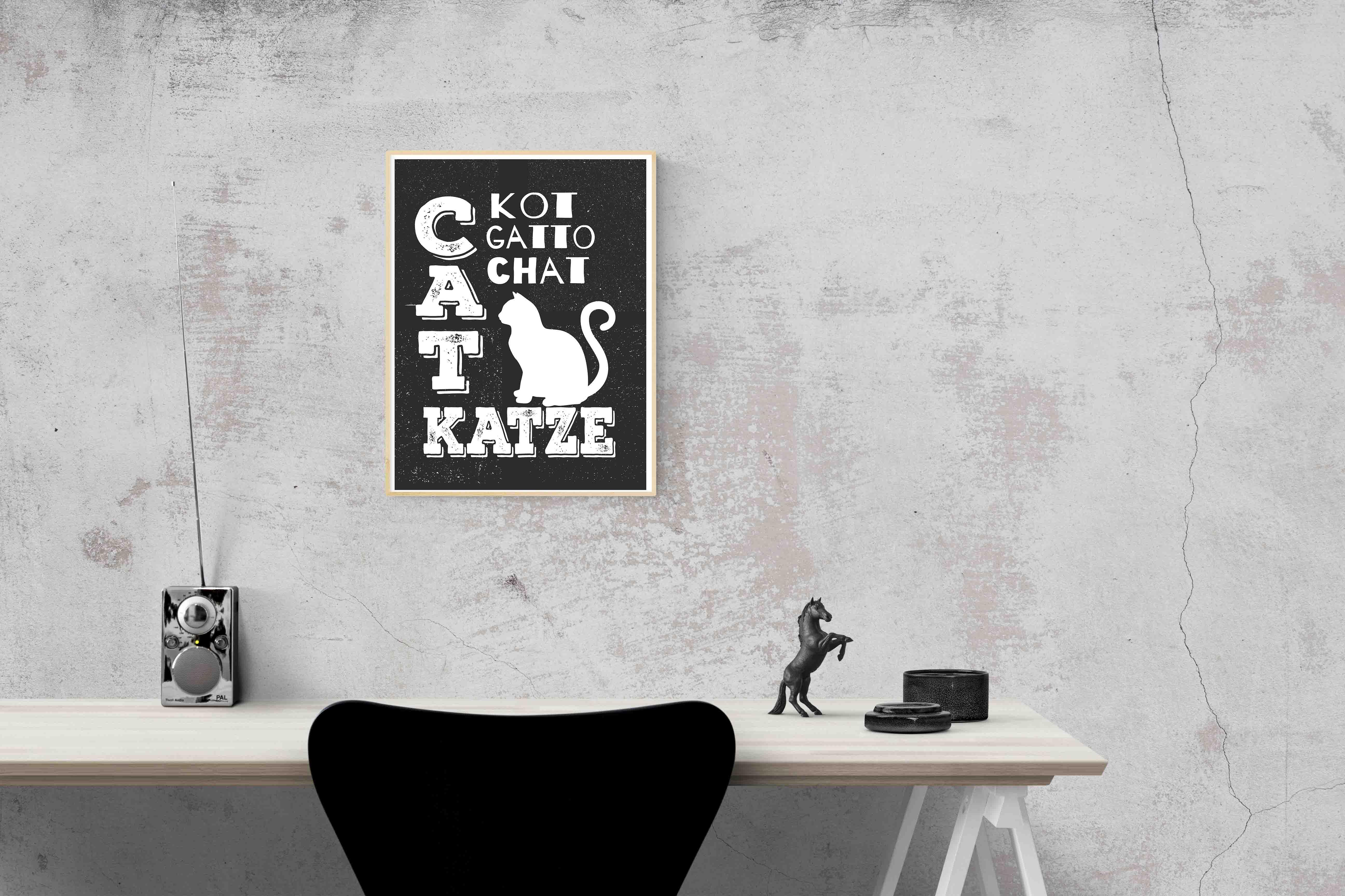 Plakat Napisy O Kotach Grafika Czarno Biała