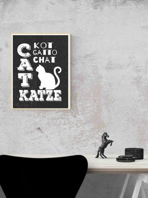 plakat napisy o kotach grafika czarno biała na scianę
