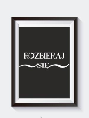czarny plakat do łazienki z cytatem