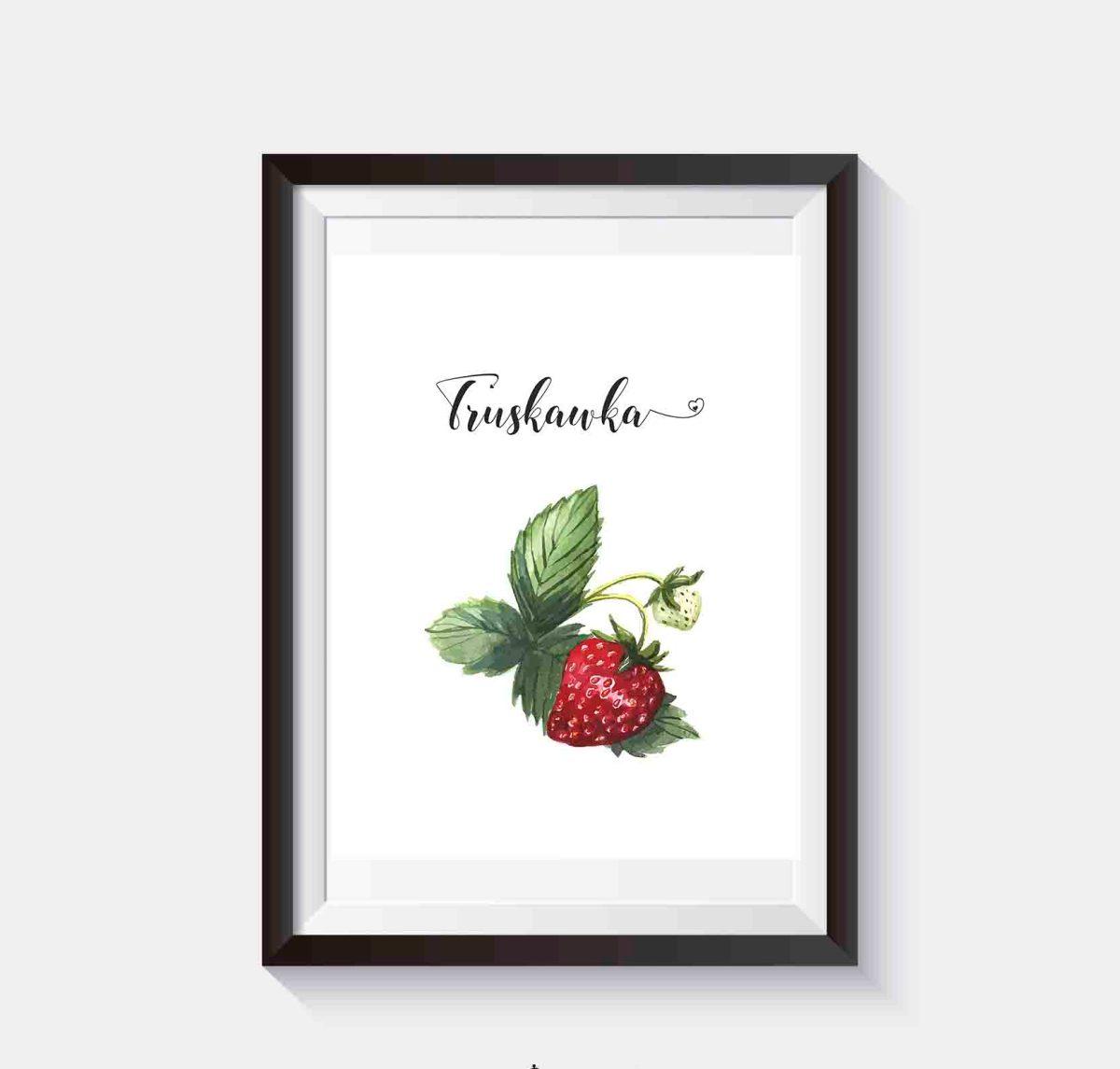 Darmowe plakaty do kuchni Owoce Plakat z truskawką