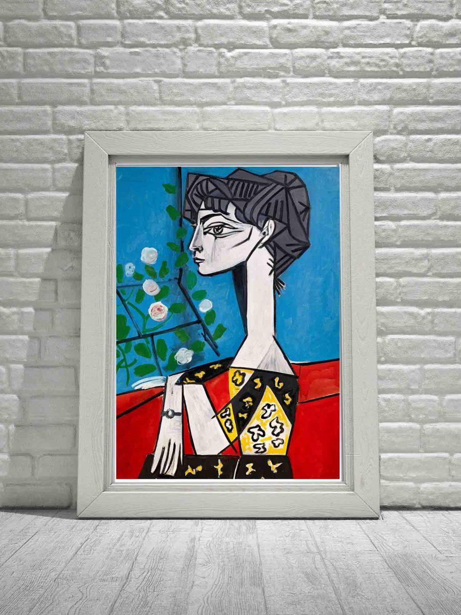 Picasso plakat z reprodukcją obrazu Jacqueline z kwiatami