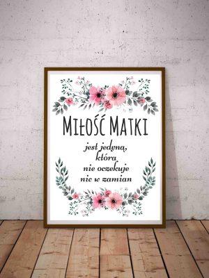 Plakat z sentencją o miłości Cytat o matce na Dzień Matki
