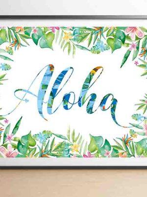 Plakat tropikalny z hawajskim pozdrowieniem Aloha