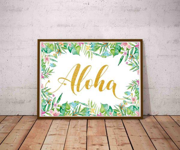 Aloha - plakat tropikalny na ścianę ze złotymi literami