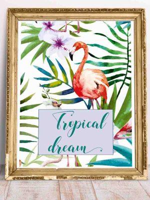 Plakat z motywem florystycznym i flamingiem Tropical Dream