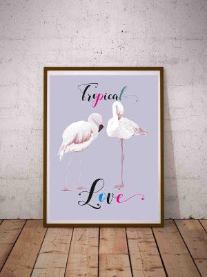 plakat tropikalny z flamingiem