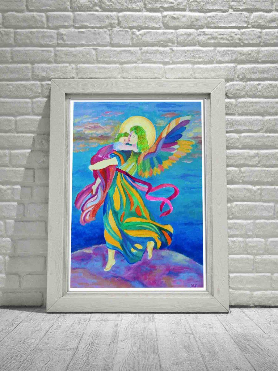 Obraz plakat z aniołem Anioł Stróż niosący dziecko