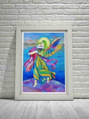Obraz plakat z aniołem Stróżem niosącym dziecko