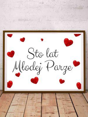 Plakat weselny z życzeniami Sto lat Młodej Parze
