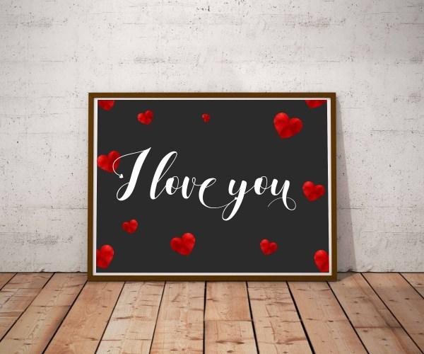Plakat z wyznaniem miłosnym po angielsku I love you