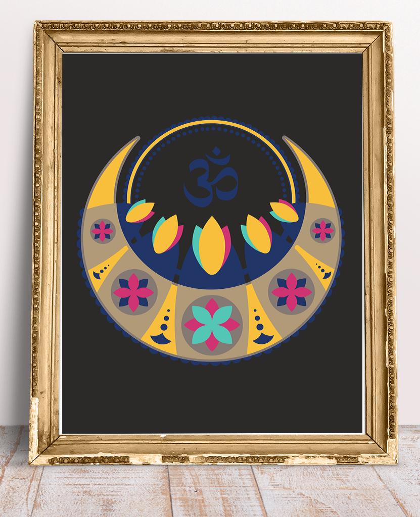 Plakat Mandala na ścianę i mantra Om na czarnym tle