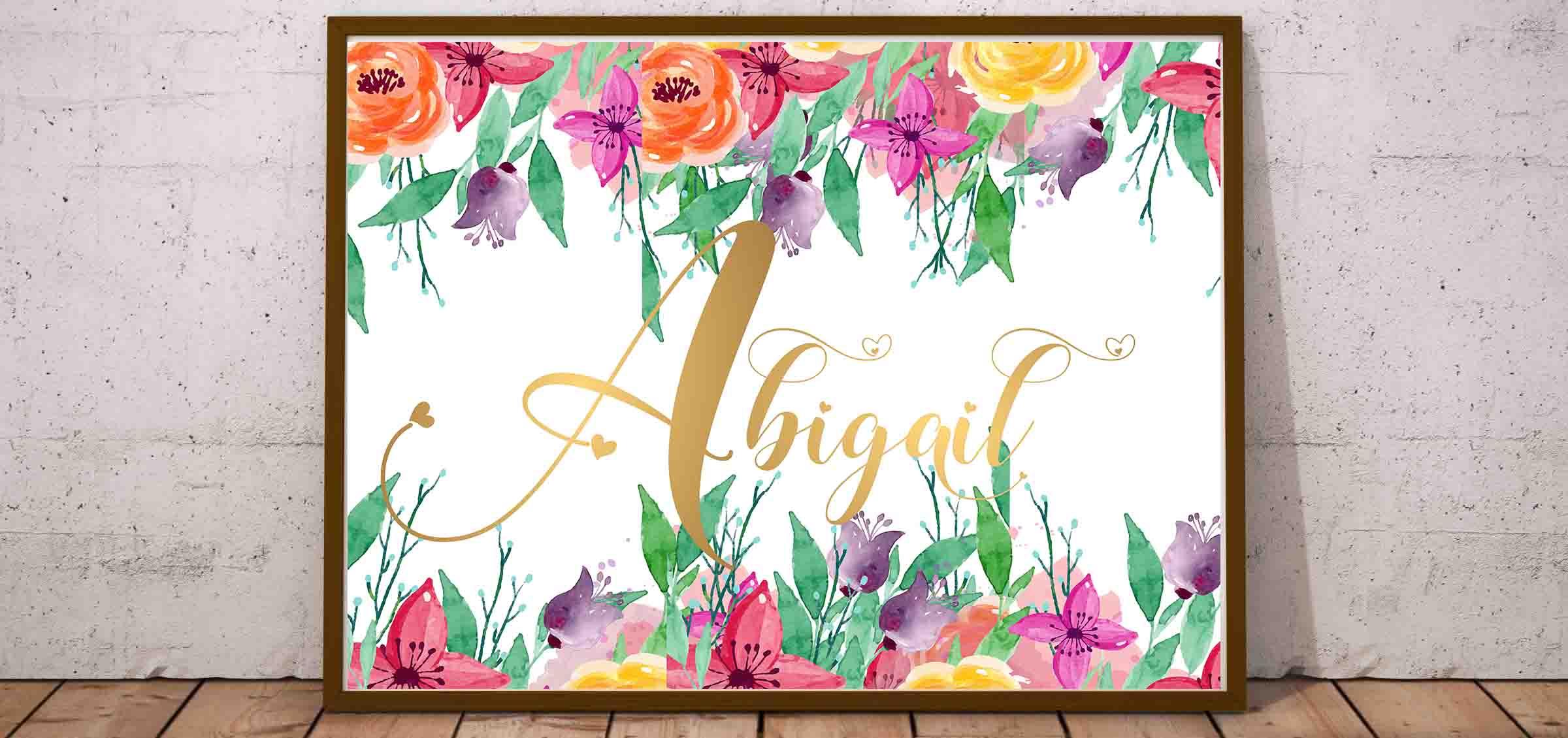 Abigail Plakat Z Imieniem Do Druku Dla Dziewczynki
