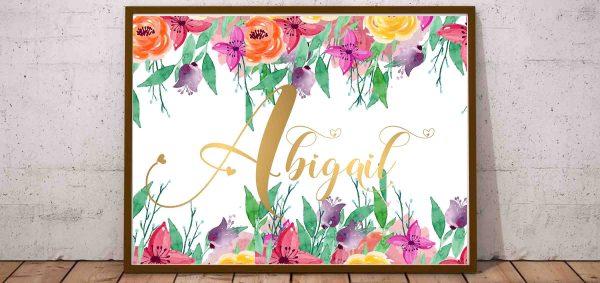 Abigail - plakat z imieniem do druku dla dziewczynki