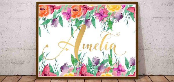 plakat z imieniem dziecka amelia