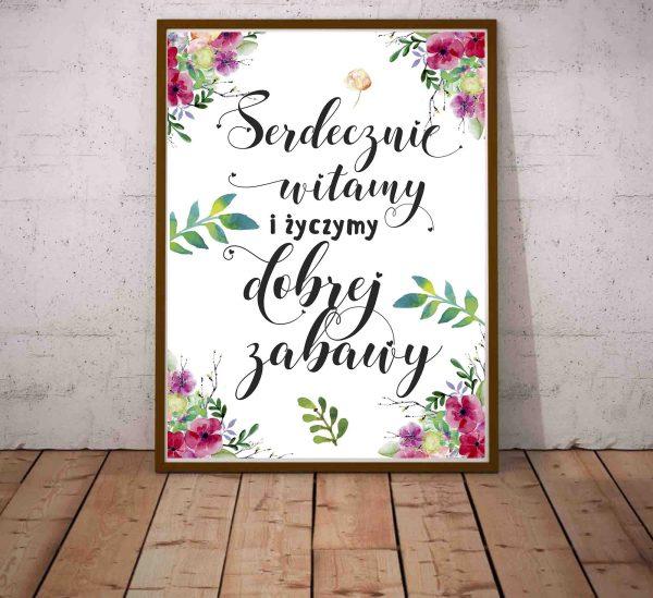 modny Plakat Witamy gości kaligrafia i motyw kwiatowy