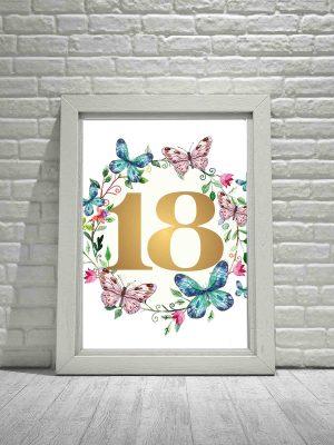 Plakat 18 urodziny - plakat typograficzne złote cyfry
