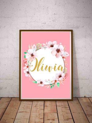 Plakat z imieniem dziecka Oliwia - ozdobna grafika na ścianę