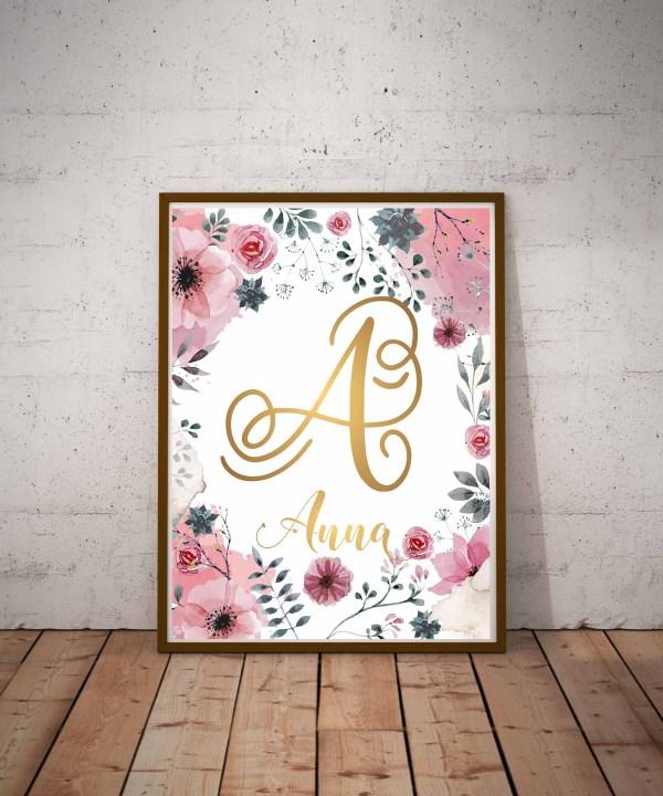 Plakat z imieniem dziecka do pobrania litera A Anna