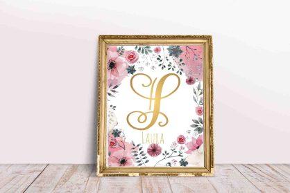 0438_Plakat z imieniem do druku imię Laura złota litera L-1