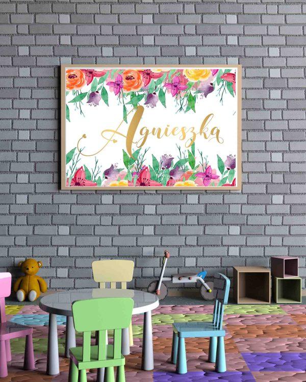 AGNIESZKA Obraz z imieniem dziecka - złoty napis piękne kwiaty
