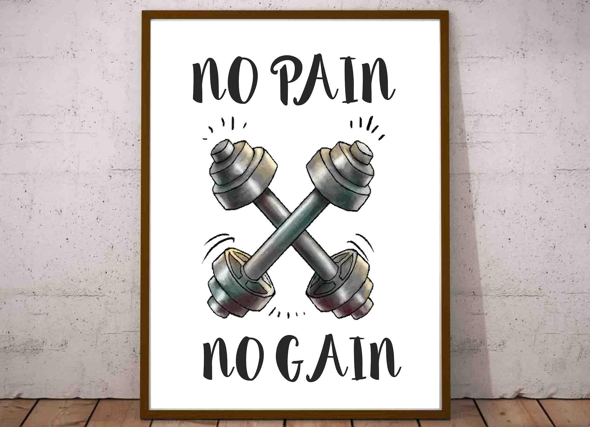 Plakaty Cytaty O Siłowni Po Angielsku No Pain No Gain Superplakatpl