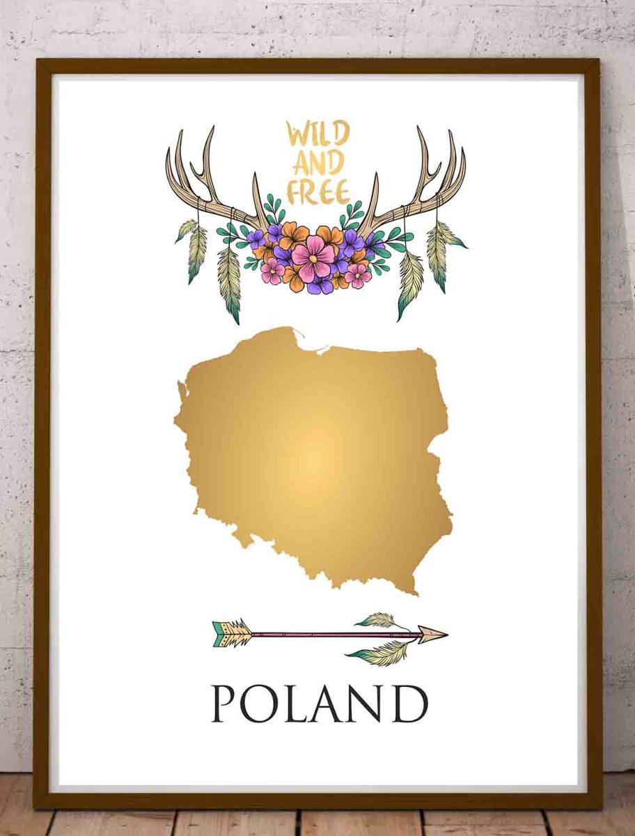 Plakat mapa Polski złota w stylu boho do samodzielnego wydruku