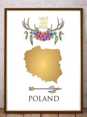Plakat mapa Polski złota w stylu boho
