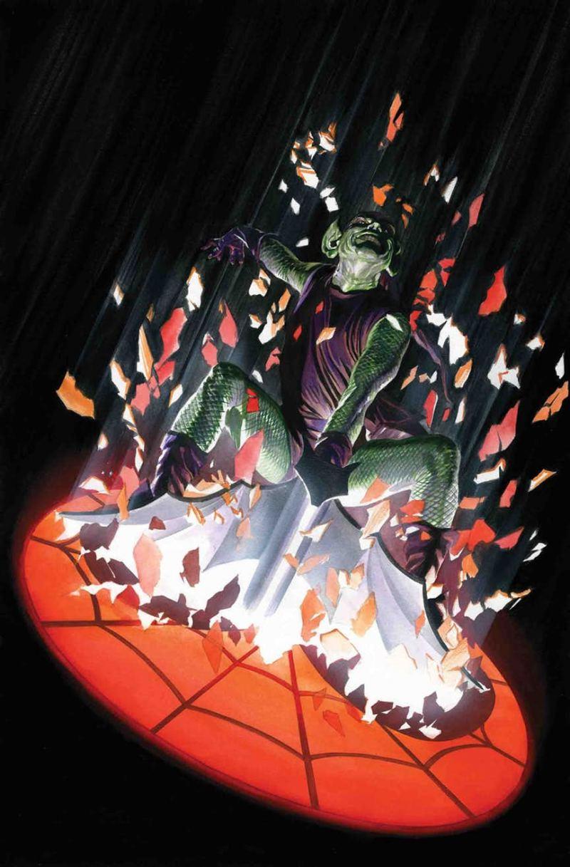 Le dernier arc de Slott inclue l'ennemi intime de Spidey, le Bouffon Vert. Amazing Spider-Man #797 par Alex Ross (Marvel Comics)