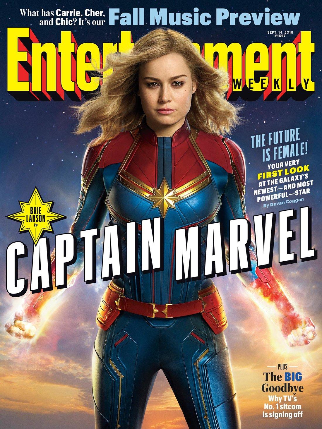 Captain Marvel (Brie Larson) en couverture d'EW