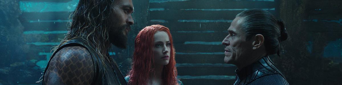 Aquaman (Jason Momoa), Mera (Amber Heard) et Vulko (Willem Dafoe)