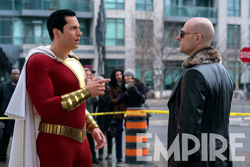 Shazam! (Zachary Levi) et le Dr Sivana (Mark Strong)